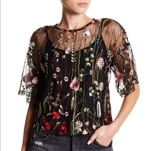 Romeo & Juliet Couture Sheer Embroidered Blouse